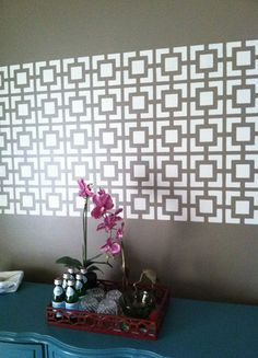 How to cut an allover wall stencil down to size? Stencil a feature panel with it! Great idea from Lakeitha @Home to 3 Duncan Boys blog!