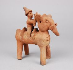 Votive figure (elephant, with mahout) made of terracotta. Found/acquired in Chhota Udaipur in 1985