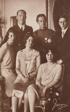Crown Prince Leopold and Crown Princess Astrid of Belgium and her  family: her sisters  Martha (Crown Princess of Norway) and Margarethe (Princess Axel of Denmark), and their husbands (?).