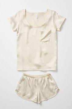 White satin pajama set