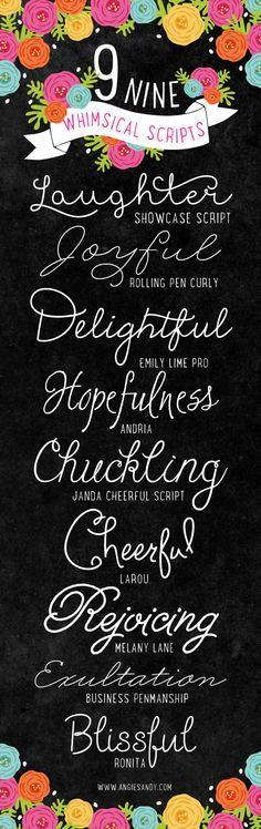 9 Whimsical Script Fonts | Angie Sandy Design   Illustration #fonts #scriptfonts