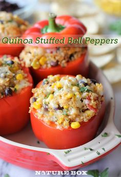 Quinoa Stuffed Bell Peppers - vegetarian & made w/lots of pantry staples you probably have on hand