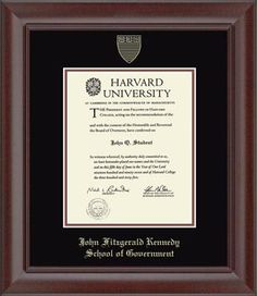 Harvard University - John Fitzgerald Kennedy School of Government Diploma Frame - Features the school name and official seal gold embossed on black and auburn museum-quality matting. It is framed in our Rainier moulding with a mahogany finish.