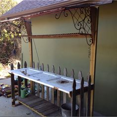 Potting bench waiting for its pots pot bench, potting benches, picket fenc, outdoor room, old doors