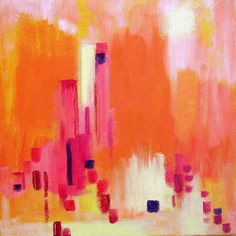 Abstract. Artist uses up left over paint from her current paintings to create smaller works of art. {Painting by Rita.}
