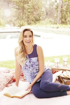 Stay true blue to the monochromatic trend in a floral tank and denim. LC Lauren Conrad at #Kohls