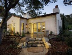 mediterranean homes, the doors, allen associ, stone cottages, santa barbara, cottage exterior, backyard, guest houses, montecito cottag