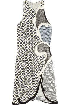 Stella McCartney Mesh-paneled crepe dress