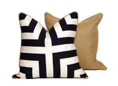 Deep Blue and White Patchwork Pillow by CCDeuxVie on Etsy
