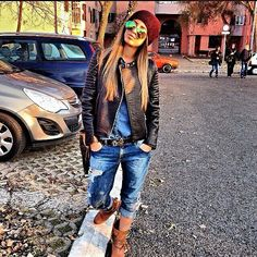 street fashion, style inspir, cloth, fall outfits, street styles, beauti, leather jackets, edgi fashion, wear