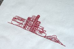 For the librarian quilt. #quilt #embroidery #redwork