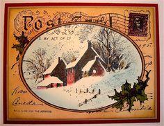 One Happy Stamper: Vintage Snowy Postcard