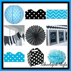 I HEART School Inspiration Boards Turquoise blue black and white classroom theme and decor by Schoolgirl Style www.schoolgirlstyle.com