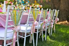 Table decor with fabric strip chair ties