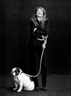 Jane Birkin and her bulldog Dora