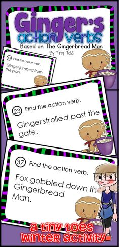 Looking for a fun way to review Action Verbs for 1st, 2nd and 3rd Grade? These Gingerbread Man themed Task Cards follow Common Core Language Arts standards I have used these in centers, as task cards, as partner work, a scoot game or taped around the room for a room search, find & answer. $