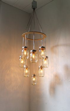 Valentines Day Heart Shaped Mason Jar Chandelier by BootsNGus, $175.00