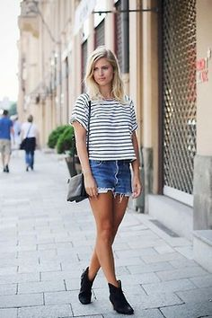 striped tee and denim shorts #minimal #outfit #style #wardrobeessentials