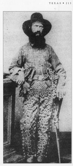 Captain Samuel J. Richardson, commander of Company F, 2nd Texas Cavalry (2nd Mounted Rifles) wearing leopard skin pants during the American Civil War.