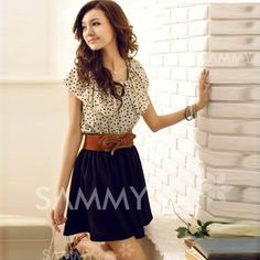 dark skirt, waist belt, chiffon polka dot top