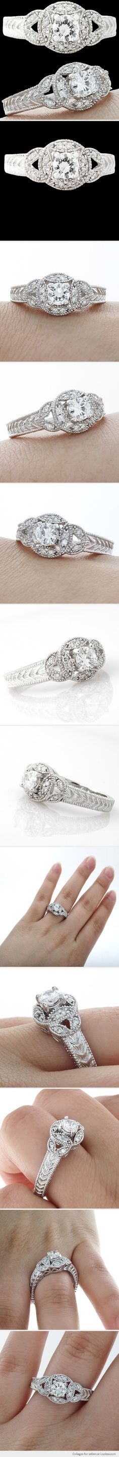 vintage engagement rings, white gold