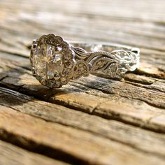 Handmade Moissanite & Diamond Engagement Ring in 14K White Gold with Leafs on Vine Motif Size 7.5