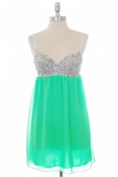 dress: silver glitter thin-strapped corset singlet top, turquoise gathered-skirt bottom