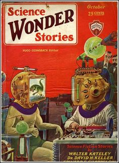 October 1929 cover of Science Wonder Stories, illustrator:Frank R. Paul