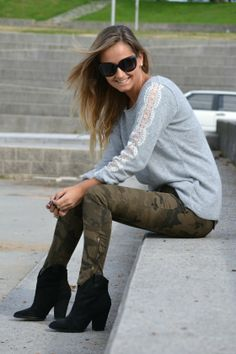 Lace sleeves and army pants
