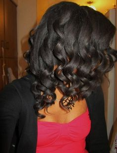 Roller set on texlaxed hair