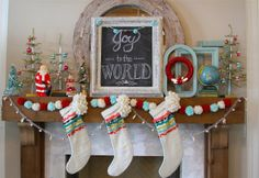 Nesting in the Bluegrass: red & white vintage inspired Christmas mantel