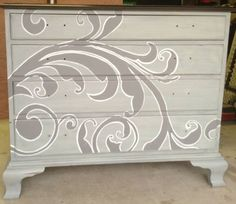 Beautifully painted dresser from Craigslist.  Thinking of a similar design but with tropical theme.