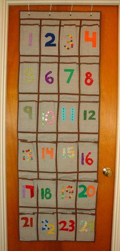 Advent calendar from shoe hanger