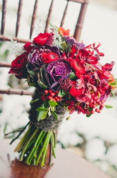 A wonderful and rich winter bouquet. Great for fall too! {Rachel A. Clingen Wedding and Event Design}