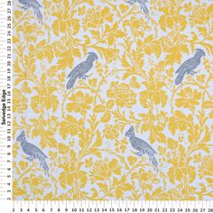 Decorator Fabric - Birds and Plants on White Cotton Fabric