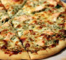 roasted garlic, chicken & pesto pizza