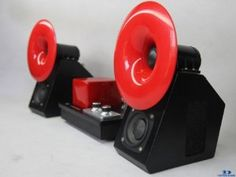 Qinpu S-2 Mini Horn Speakers (Red)