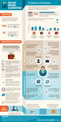 Social Media Guidelines for #Students and #JobSeekers #INFOGRAPHIC