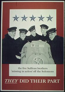 The Sullivan brothers, who died together aboard the USS Juneau.