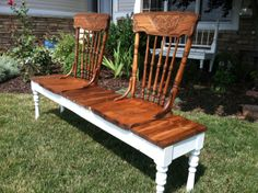 repurpose treadle sewing machine | Antique oak chairs given new life! $225
