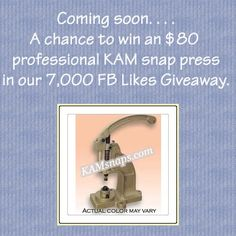 KAMsnaps will be giving away a free professional snap press very soon!