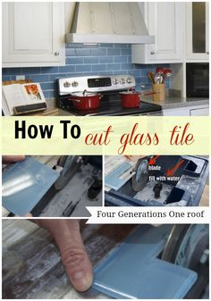 How to cut glass tile using a wet saw by Jessica @ www.fourgenerationsoneroof.com @4gens1roof