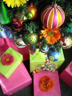 Colorful gift wrap ideas