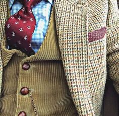 Layers: Jumbo cord waistcoat with covered buttons, tweed jacket