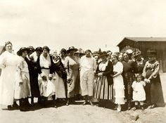 Group picture of the Women's Club of Owensmouth Annual Meeting on June 16, 1921 at Napoleon's Canyon. Canoga Park Women's Club Collection.