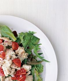 Cherry Tomatoes and Red Onion Chicken Salad from realsimple.com #myplate #protein #vegetables