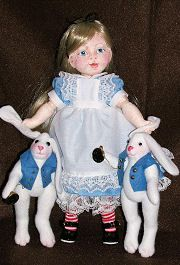 """BLEUETTE""  In Cloth   AS  ""ALICE IN WONDERLAND""  With a molded, cloth covered face."