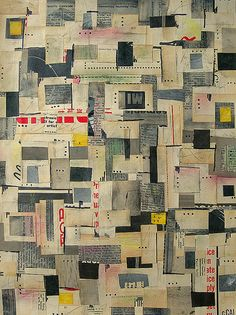 'Yellow Square' paper patchwork. via chignonue. Artist?