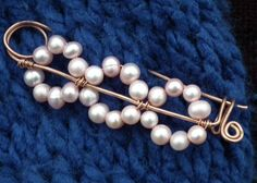 Safety Pin Style Shawl Pin - Beadwork