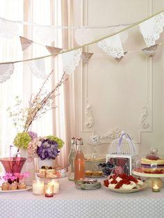 Tasteful Tea Party birthday, tea parti, paper doilies, doili banner, brunch, garland, vintage tea, banners, bridal showers
